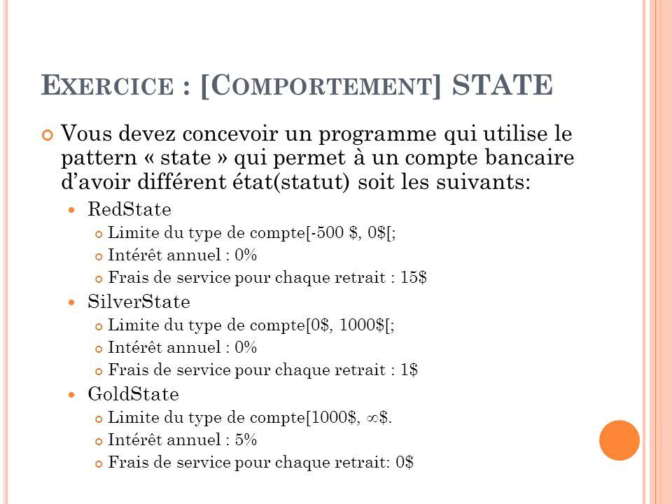 Exercice : [Comportement] STATE